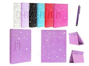Kit Me Out USA PU Leather Book Case + Purple Resistive / Capacitive Stylus Pen for Asus Google Nexus 7 ( 7 Inch 7.0 ) Tablet - Purple Sparking Glitter Diamond Diamante Gem Design