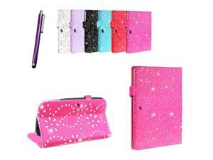 Kit Me Out USA PU Leather Book Case + Purple Resistive / Capacitive Stylus Pen for Samsung Galaxy Tab 3 Tablet ( 8 Inch 8.0 ) T3100 / T3110 - Hot Pink Sparking Glitter Diamond Diamante Gem Design