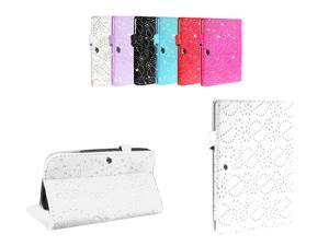 Kit Me Out USA PU Leather Book Case for Samsung Galaxy Tab 3 Tablet ( 8 Inch 8.0 ) T3100 / T3110 - White Sparking Glitter Diamond Diamante Gem Design
