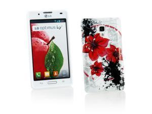 Kit Me Out USA IMD TPU Gel Case + Screen Protector with MicroFibre Cleaning Cloth for LG Optimus L7 2 P710 - White / Red / Black Oriental Flowers