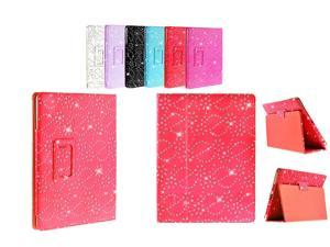 Kit Me Out USA PU Leather Book Case for Asus Google Nexus 7 ( 7 Inch 7.0 ) Tablet - Red Sparking Glitter Diamond Diamante Gem Design