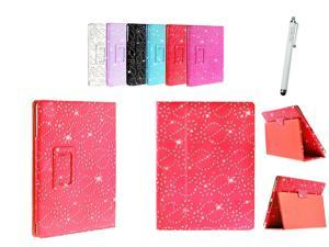 Kit Me Out USA PU Leather Book Case + White Resistive / Capacitive Stylus Pen for Asus Google Nexus 7 ( 7 Inch 7.0 ) Tablet - Red Sparking Glitter Diamond Diamante Gem Design