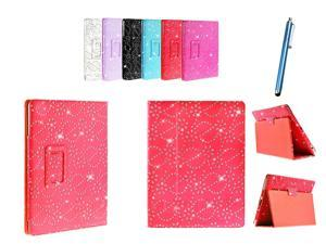 Kit Me Out USA PU Leather Book Case + Blue Resistive / Capacitive Stylus Pen for Asus Google Nexus 7 ( 7 Inch 7.0 ) Tablet - Red Sparking Glitter Diamond Diamante Gem Design