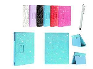 Kit Me Out USA PU Leather Book Case + White Resistive / Capacitive Stylus Pen for Asus Google Nexus 7 ( 7 Inch 7.0 ) Tablet - Light Blue Sparking Glitter Diamond Diamante Gem Design