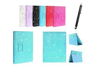 Kit Me Out USA PU Leather Book Case + Black Resistive / Capacitive Stylus Pen for Asus Google Nexus 7 ( 7 Inch 7.0 ) Tablet - Light Blue Sparking Glitter Diamond Diamante Gem Design