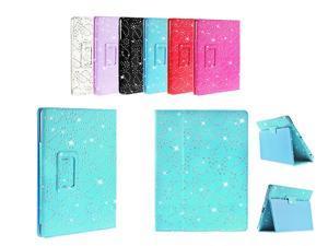 Kit Me Out USA PU Leather Book Case for Asus Google Nexus 7 ( 7 Inch 7.0 ) Tablet - Light Blue Sparking Glitter Diamond Diamante Gem Design