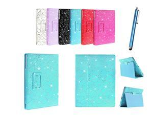 Kit Me Out USA PU Leather Book Case + Blue Resistive / Capacitive Stylus Pen for Asus Google Nexus 7 ( 7 Inch 7.0 ) Tablet - Light Blue Sparking Glitter Diamond Diamante Gem Design