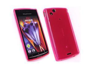 Kit Me Out USA TPU Gel Case + Screen Protector with MicroFibre Cleaning Cloth for Sony Ericsson Xperia Arc / Arc S X12 - Pink Frosted Pattern