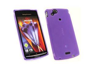 Kit Me Out USA TPU Gel Case + Screen Protector with MicroFibre Cleaning Cloth for Sony Ericsson Xperia Arc / Arc S X12 - Purple Frosted Pattern