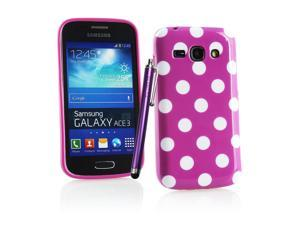 Kit Me Out USA TPU Gel Case + Purple Resistive / Capacitive Stylus Pen + Screen Protector with MicroFibre Cleaning Cloth for Samsung Galaxy Ace 3 S7272 - Purple / White Polka Dots