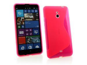 Kit Me Out USA TPU Gel Case + Screen Protector with MicroFibre Cleaning Cloth for Nokia Lumia 1320 - Hot Pink S Line Wave Pattern
