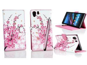 Kit Me Out USA PU Leather Printed Side Flip + Pink Resistive / Capacitive Stylus Pen + Screen Protector with MicroFibre Cleaning Cloth for Sony Xperia Z1 - White / Pink Blossom