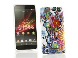 Kit Me Out USA IMD TPU Gel Case for Sony Xperia M - Multicoloured Circles With Flowers