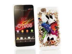Kit Me Out USA IMD TPU Gel Case for Sony Xperia M - White Coloured Butterfly