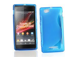 Kit Me Out USA TPU Gel Case for Sony Xperia M - Blue S Line Wave Pattern