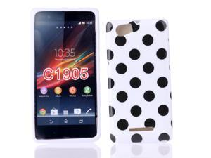 Kit Me Out USA IMD TPU Gel Case + Screen Protector with MicroFibre Cleaning Cloth for Sony Xperia M - White / Black Polka Dots