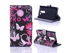 Kit Me Out USA PU Leather Printed Side Flip for LG G2 MINI - Black / Pink Garden