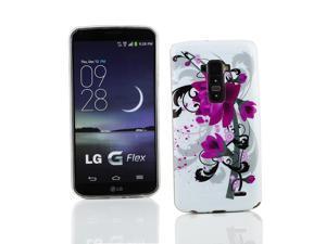 Kit Me Out USA IMD TPU Gel Case for LG G Flex - Black / White / Purple Bloom