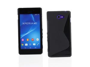Kit Me Out USA TPU Gel Case for Sony Xperia M2 - Black S Line Wave