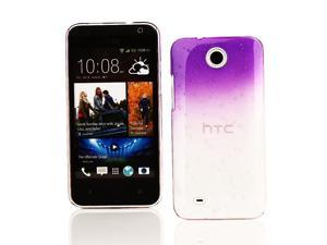 Kit Me Out USA Hard Clip-on Case for HTC Desire 300 - Purple / Clear Transparent Raindrops Water Effect