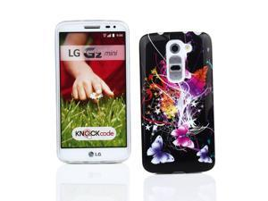 Kit Me Out USA IMD TPU Gel Case + Screen Protector with Microfiber Cleaning Cloth for LG G2 MINI - Black Butterfly Splash