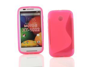 Kit Me Out USA TPU Gel Case for Motorola Moto E - Pink S Line Wave