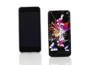 Kit Me Out USA IMD TPU Gel Case for Amazon Fire Phone ( 2014 ) - Black Butterfly Splash