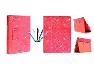 Kit Me Out USA PU Leather Book Case + 5 Resistive / Capacitive Stylus Pens for Asus Google Nexus 7 ( 7 Inch 7.0 ) Tablet - Red Sparking Glitter Diamond Diamante Gem Design