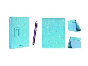 Kit Me Out USA PU Leather Book Case + Purple Resistive / Capacitive Stylus Pen for Asus Google Nexus 7 ( 7 Inch 7.0 ) Tablet - Light Blue Sparking Glitter Diamond Diamante Gem Design