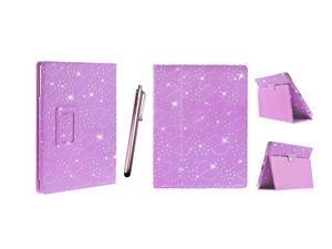 Kit Me Out USA PU Leather Book Case + Pink Resistive / Capacitive Stylus Pen for Asus Google Nexus 7 ( 7 Inch 7.0 ) Tablet - Purple Sparking Glitter Diamond Diamante Gem Design