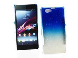 Kit Me Out USA Hard Clip-on Case + Screen Protector with MicroFibre Cleaning Cloth for Sony Xperia Z1 Compact - Blue / Clear Transparent Raindrops Water Effect