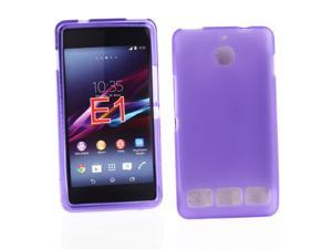 Kit Me Out USA TPU Gel Case for Sony Xperia E1 - Purple Frosted Pattern