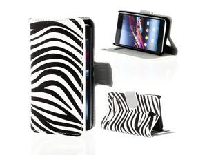 Kit Me Out USA PU Leather Printed Side Flip + Screen Protector with MicroFibre Cleaning Cloth for Sony Xperia E1 - Black / White Zebra