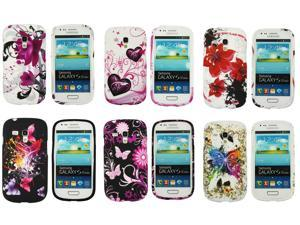 Kit Me Out USA TPU Gel Case Pack for Samsung Galaxy S3 Mini i8190 (NOT FOR S3) - Coloured Butterfly, Purple Bloom, Pink Garden, Oriental Flowers, Purple Hearts, Butterfly Splash