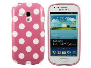 Kit Me Out USA IMD TPU Gel Case for Samsung Galaxy S3 Mini i8190 (NOT FOR S3) - Pink / White Polka Dots