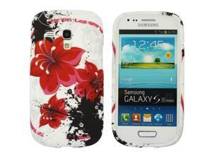Kit Me Out USA IMD TPU Gel Case for Samsung Galaxy S3 Mini i8190 (NOT FOR S3) - White Oriental Flowers