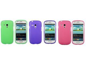 Kit Me Out USA TPU Gel Case Pack for Samsung Galaxy S3 Mini i8190 (NOT FOR S3) - Purple, Green, Pink Frosted Pattern