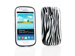 Kit Me Out USA IMD TPU Gel Case for Samsung Galaxy S3 Mini i8190 (NOT FOR S3) - Vertical Black/White Zebra