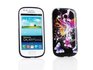 Kit Me Out USA IMD TPU Gel Case for Samsung Galaxy S3 Mini i8190 (NOT FOR S3) - Black Butterfly Splash