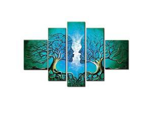 Wieco Art-100% Hand-painted Wood Framed on the Back Oil Wall Art Blue Tree Human Body Home Decoration Landscape Oil Painting on Canvas 5pcs/set