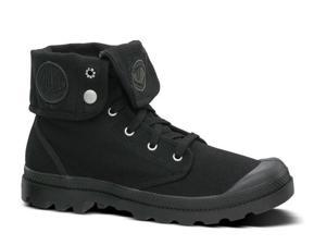 Mens Palladium Baggy Canvas Leather Ankle Boot Lace-Up Black
