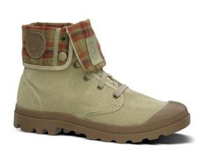 Mens Palladium Baggy Canvas Leather Ankle Boot Lace-Up Beige