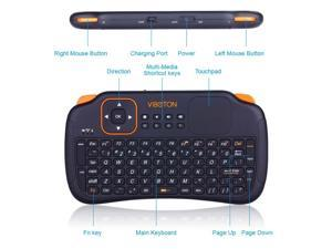 VIBOTON Mobile Wireless Keyboard Mini USB Gaming Small Keyboards with Touchpad Best Ergonomic Smart TV Keyboards Support Android,Linux,Windows,Control Your Device Easier & Better or Your Money Back!