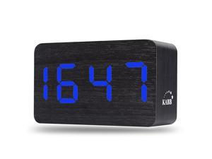 KABB Light Brown Wood Grain Green LED Light Alarm Clock - Shows Time and Temperature - Good Sound Control - Latest Generation (USB/4xAAA) - Excellent Size - Made of Natural
