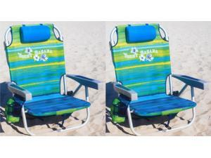 Tommy Bahama 2016 Backpack Cooler Chair with Storage Pouch and Towel Bar 2 Pack (Green/Blue Mix & Green/Blue Mix)