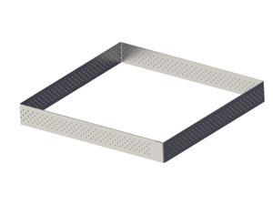 "De Buyer Stainless Steel Perforated Square Tart Ring - 2.75"" x 2.75"" x 0.8"""