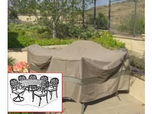 """Patio Set Cover 104""""Dia.x31""""H Fits square, Oval or Round table set, Center hole for Umbrella."""