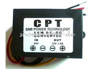 DC-DC Converter Buck Step-Down Waterproof Car Power Supply 24V to 12V 1.5A