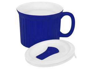 CorningWare French White Pop-Ins Mug with Vented Plastic Cover, 20-Ounce, Blueberry