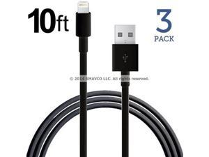 3 Pack - 10ft 8 Pin Lightning to USB Sync Data Charger USB Cable for Apple iPad Air 2, iPad Air, iPhone 6, 6 Plus, iPad mini, mini 2, mini 3, iPhone 5, 5c, 5s, iPod nano 7th Gen, iPod touch 5th Gen
